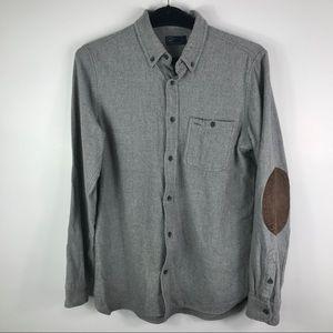GAP heather grey flannel brown elbow patch